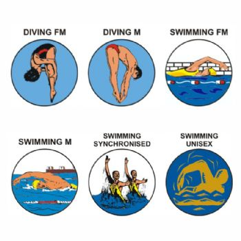 Swimming & Diving pk of 5 25mm centres-